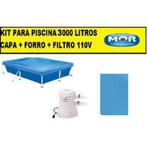 Capa Para Piscina 3000 Litros Standart + Forro + Filtro 220v
