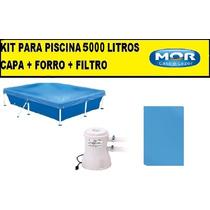 Capa Para Piscina 5000 Litros Premium + Forro + Filtro 110v