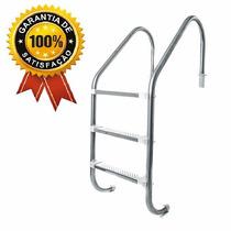 Escada Em Inox Para Piscina- 3 Degraus- Degraus Em Aço Inox