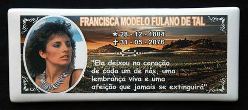 Placa Lápide Fotoporcelana P Tumulo Homenageie Seu Ente