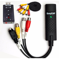 Kit Captura Easycap Usb Completo Video Placa Som 7.1 + Cabos