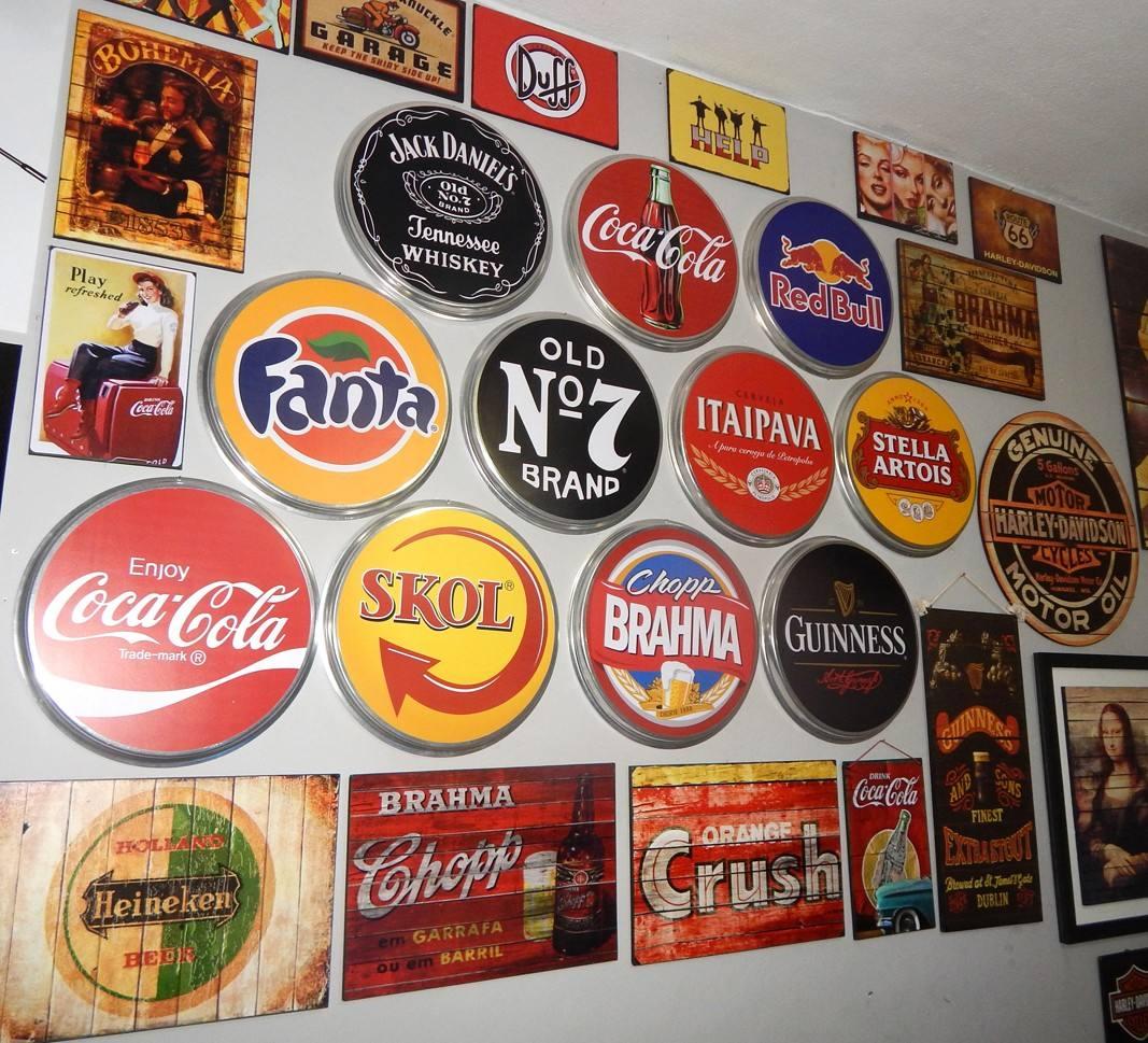 Placas De Metal Redondas Decoração Bar Vintage Retro R$ 58 00 no  #C28D09 1067 969