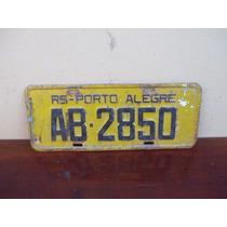 Antiga Placa Amarela Ab-2850 (porto Alegre) - Carro Antigo