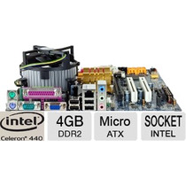 Kit Completo Placa Mãe Intel Lga 775 + Celeron 2.0 + 4 Giga