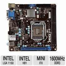 Placa-mãe Msi Intel Lga 1150 Mini Itx H81i, 2xddr3,usb 3.0
