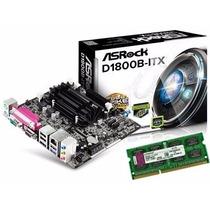Kit Asrock Mini Itx D1800b Itx + Processador Dual Core + 8gb
