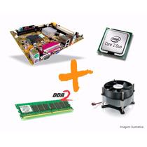 Kit Intel Lga 775 -core2 Duo + Placa Mãe + Cooler + 2gb Ddr2