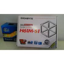 Placa Mae Gigabyte Micro Atx 1155 Ga H61m S1 Com Processador
