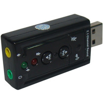 Placa De Som Usb 7.1 Canais 3d Adaptador Audio P2 Pc Note