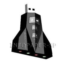 Adaptador Placa De Som Usb 7.1 P/ Entrada P2 Fone De Ouvido