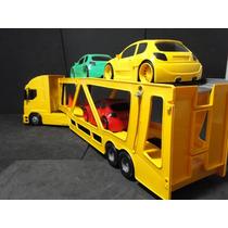 Caminhão Com Carros Cegonha Cegonheira Articulada Comp70cm
