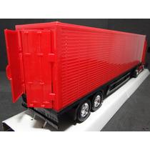 Vermelha Caminhão Carreta 02 Eixos Bau Abre Portas Comp 67cm