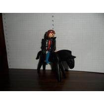 Boneco Playmobil Com Armadura E Cavalo - 1974 Geobra
