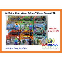 Kit 3 Caixas Minecraft Lego Coleção P/ Montar Crianças 5-12
