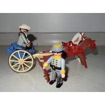 Playmobil Western 2 Confederados + Carroça Azul Raríssima