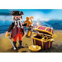 Playmobil Piratas Capitão Pirata Baú Tesouro 4783 Cx Lacrada