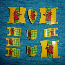 Brq - Playmobil 7 Bandeiras 3 Escudos Medievais Águia Língua