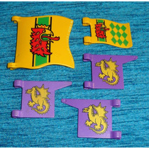 Brq - Playmobil Bandeiras 5 Medievais 3 Roxas 2 Amarel/verde