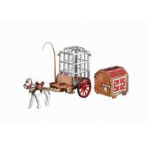 6376 Playmobil Cavaleiros Carroça De Prisioneiros Com Baú...