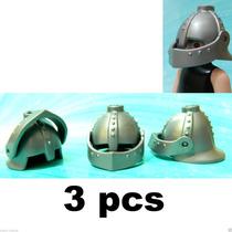 Playmobil-197 - 3 Capacetes Elmos Para Cavaleiro Medieval