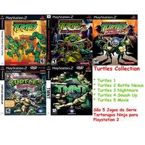 As Tartarugas Ninjas 1, 2, 3, 4 E 5 Ps2 (kit 5 Jogos