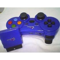 Joystick Controle Sem Fio Wireless Ps2 Recarregavel Azul