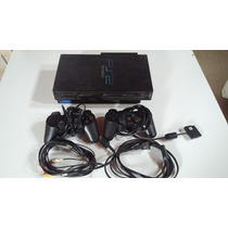 Ps2 Fat Tijolao Scph 30001 Com Hd 80gb + 2 Controles