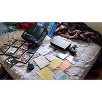 Playstation 2 C Caixa Manuais 9 Jogos Manual Modem Hd