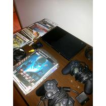 Ps2 Slim Desbloqueado 2 Controles + Memória Card + Jogos