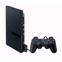 Playstation 2 Slim +2 Controles +1m-card Destravado Novo