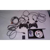 Console Ps2 Sony Com 2 Controle ,1 Memory Card De 8mb E 50 J