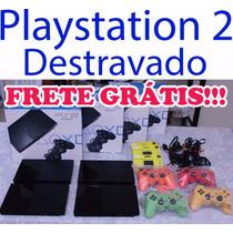 Playstation 2 + Leitor Novo + Caixa + 10 Jogos + 2 Controles