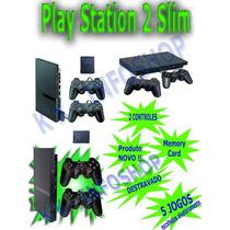 Playstation 2 Destravado+2 Controles + Memory Card + R$ 415,