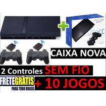 Playstation 2 Semi Novo + 2 Controles Sem Fio + 10 Jogos !!