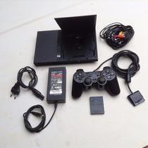 Playstation 2 Slim Usado Destravado , 1 Controles ,2 Memory