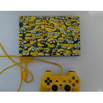 Playstation 2 Slim + 2 Controles + Jogos + Brinde