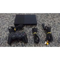 Playstation 2 Desbloqueado C/ 1 Controle + 5 Jogos Brindes