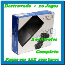Play 2 Slim Destravado +10jogos+2controles Na Caixa Curitiba
