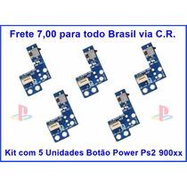 Kit Com 5 Botão Liga/desliga Slim Ps2 9000x Placa Reset Ps2