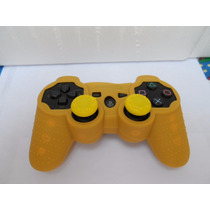Kit Para Controle Ps3 E Pc Amarelo Capa E Grips Protetor