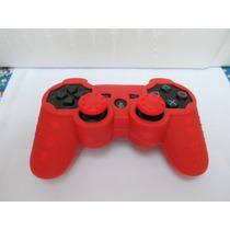 Kit Completo De Capa E Grips Para Controle Ps3 Vermelho