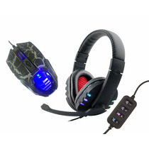 Kit Fone + Mouse Gamer Headset Jogo Ps3 Ps4 Xbox360 One E Pc