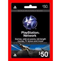 Playstation Network Card Cartão Psn $50 + Envio Imediato