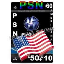 Cartão Psn Americana 60 Dolares - Psn Usa 60 Dolares Plus