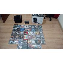 Playstation 3 Fat Na Caixa, 45 Jogos, Guitarra, Coolers Etc