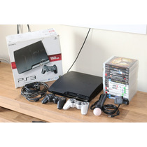 Playstation 3 Ps3 160gb + 15 Jogos + 2 Controles + Kit Move
