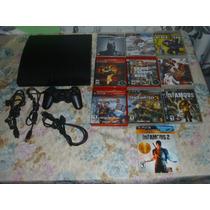Playstation 3 Slim 160gb - 1 Controle E 10 Jogos Fisicos