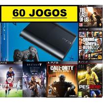 Ps3 Superslim 500 Gb+ 55 Jogos Originais+ Garantia + Hdmi