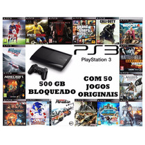 Ps3 Super Slin 500 Gb + 2 Controles + 50 Jogos