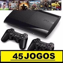 Ps3 Superslim 250 Gb+45 Jogos+2 Controles+ Skin Gta 5 + Hdmi
